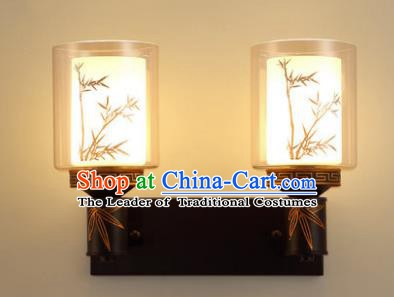 Traditional Asian China Style Printing Bamboo Lanterns Chinese Ancient Wall Lamp Palace Lantern