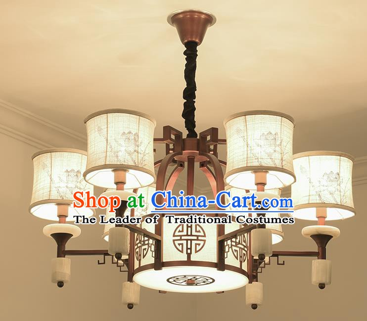 Traditional China Handmade Lantern Ancient Six-pieces Hanging Lanterns Palace Ceiling Lamp