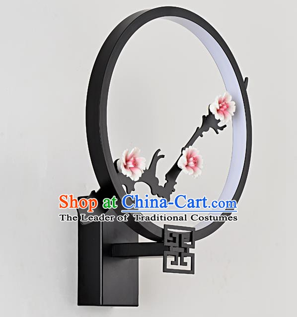 Traditional Asian China Style Black Lanterns Chinese Ancient Plum Blossom Wall Lamp Palace Lantern