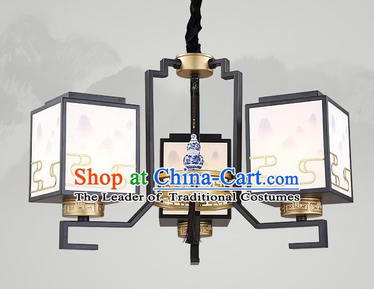 Traditional China Handmade Lantern Ancient Three-Lights Hanging Lanterns Palace Ceiling Lamp