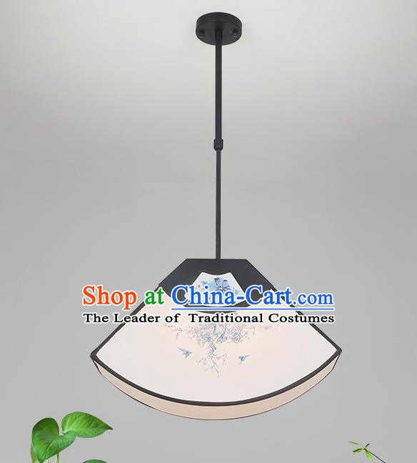 Traditional China Handmade Lantern Ancient Printing Fan Hanging Lanterns Palace Ceiling Lamp