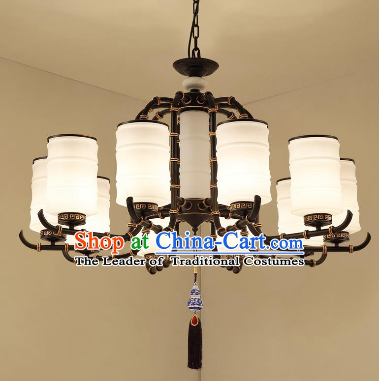 Traditional China Handmade Lantern Ancient Ten-Lights Hanging Lanterns Palace Ceiling Lamp
