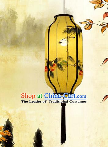 Traditional China Handmade Yellow Lantern Ancient Ink Painting Flowers Hanging Lanterns Palace Ceiling Lamp