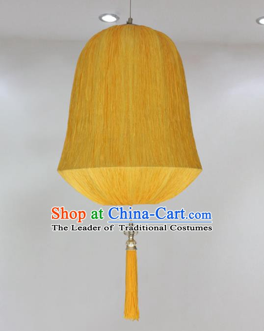 Traditional China Handmade Yellow Lantern Ancient Hanging Lanterns Palace Ceiling Lamp