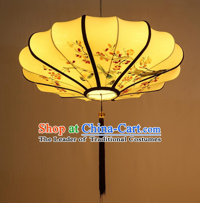 Traditional China Handmade Yellow Lotus Lantern Ancient New Year Hanging Lanterns Palace Ceiling Lamp