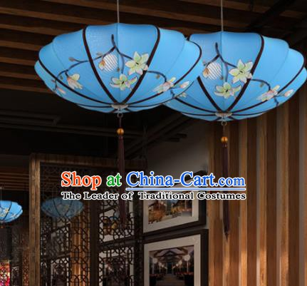 Traditional China Handmade Printing Blue Lantern Ancient New Year Hanging Lanterns Palace Ceiling Lamp