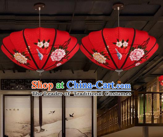 Traditional China Handmade Printing Red Lantern Ancient New Year Hanging Lanterns Palace Ceiling Lamp