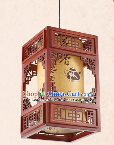 China Handmade Wood Lantern Traditional Parchment Lanterns Palace Hanging Lamp
