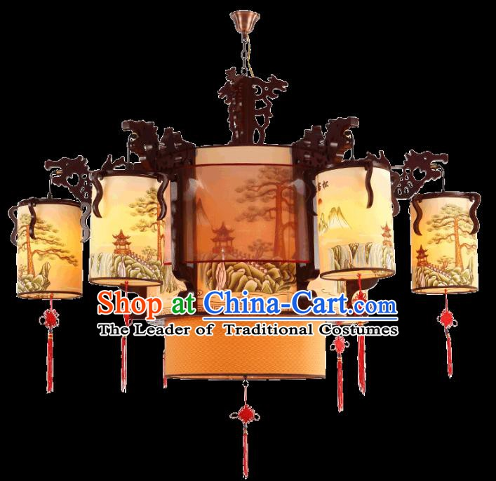 China Handmade Ceiling Lantern Traditional Wood Lanterns Palace Hanging Lamp