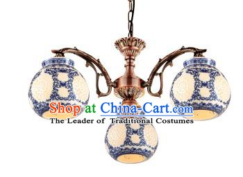 China Handmade iron Ceiling Lantern Traditional Ancient Hanging Lanterns Three-Lights Palace Lamp