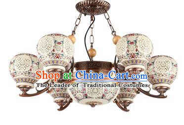 China Handmade iron Ceiling Lantern Traditional Ancient Hanging Lanterns Six-Lights Palace Lamp