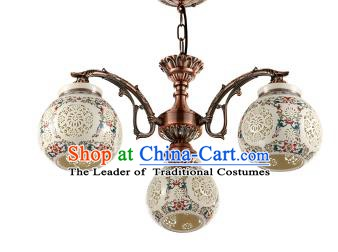 China Handmade iron Colorful Ceiling Lantern Traditional Ancient Hanging Lanterns Three-Lights Palace Lamp