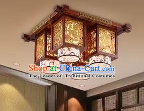 China Handmade Wood Carving Ceiling Lantern Traditional Ancient Four-Lights Lanterns Palace Lamp