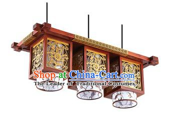 China Handmade Wood Carving Ceiling Lantern Traditional Ancient Three-Lights Lanterns Palace Lamp