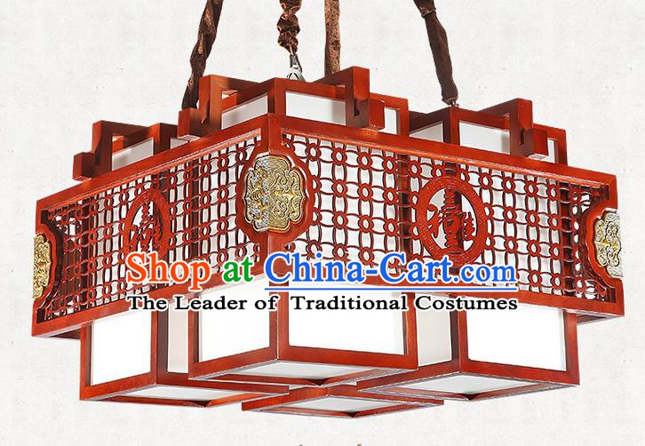 China Handmade Wood Ceiling Lantern Traditional Ancient Four-Lights Hanging Lamp Palace Lanterns