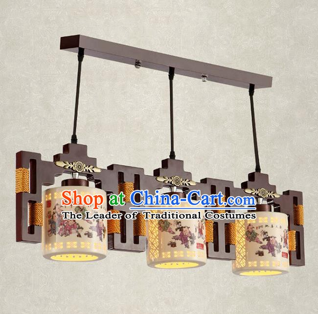 China Handmade Ceiling Lantern Traditional Ancient Printing Ceramics Three-Lights Hanging Lamp Palace Lanterns