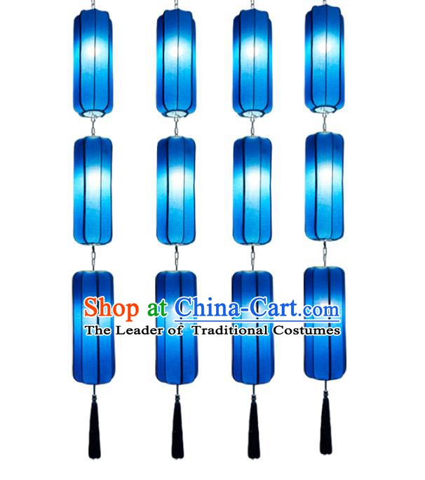 China Handmade Lantern Traditional Lanterns Blue Hanging Palace Ceiling Lamp