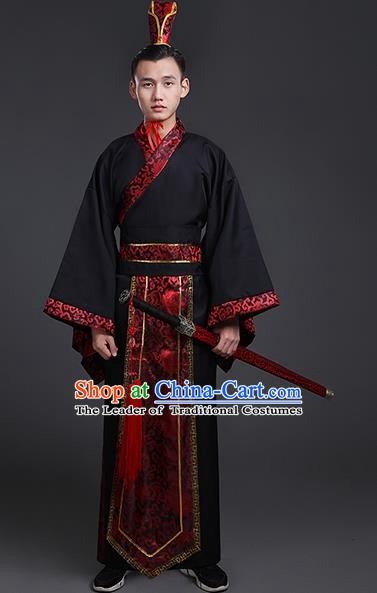 Chinese Ancient Han Dynasty Gifted Scholar Costume Theatre Performances Swordsman Clothing for Men
