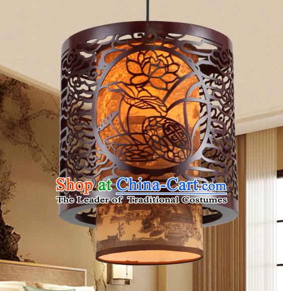 Asian China Handmade Wood Carving Lotus Ceiling Lantern Traditional Ancient Hanging Lamp Palace Lanterns