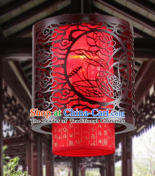 Asian China Handmade Wood Carving Lotus Ceiling Lantern Traditional Ancient Red Hanging Lamp Palace Lanterns