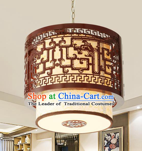 Asian China Handmade Wood Carving Ceiling Lantern Traditional Ancient Parchment Hanging Lamp Palace Lanterns