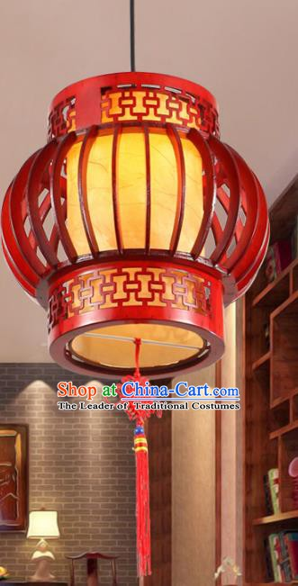 Asian China Handmade Wood Ceiling Lantern Traditional Ancient Yellow Hanging Lamp Palace Lanterns