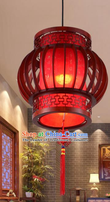 Asian China Handmade Wood Ceiling Lantern Traditional Ancient Red Hanging Lamp Palace Lanterns