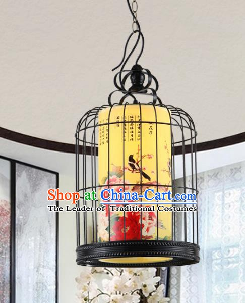 Asian China Handmade Black Iron Birdcage Lantern Traditional Ancient Ceiling Lamp Hanging Palace Lanterns