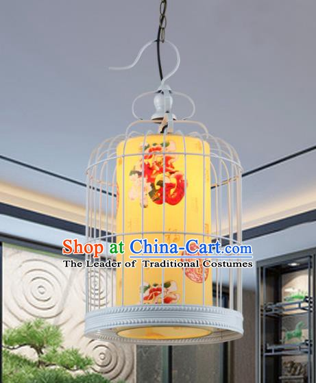 Asian China Handmade White Iron Birdcage Lantern Traditional Ancient Ceiling Lamp Hanging Palace Lanterns