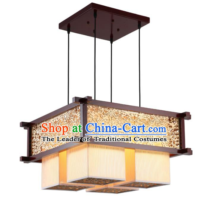 Asian China Handmade Wood Carving Lantern Traditional Ancient Ceiling Lamp Hanging Palace Lanterns