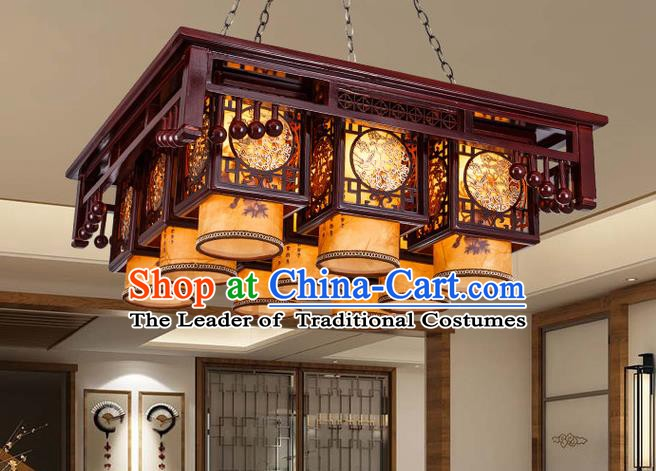 Asian China Handmade Wood Carving Lantern Traditional Ancient Ceiling Lamp Nine-Lights Palace Lanterns