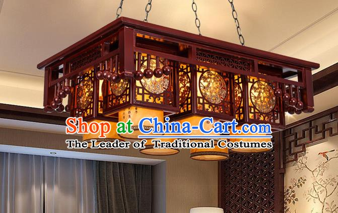 Asian China Handmade Wood Carving Lantern Traditional Ancient Ceiling Lamp Six-Lights Palace Lanterns