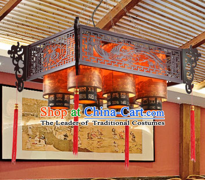 China Ancient Handmade Wood Six-Lights Lantern Traditional Carving Phoenix Ceiling Lamp Palace Lanterns