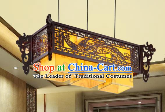 Asian China Handmade Wood Carving Phoenix Lantern Traditional Ancient Three-Lights Ceiling Lamp Palace Lanterns