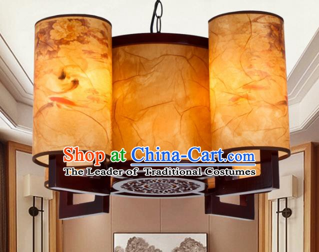 Chinese Handmade Four-Lights Lantern Traditional Palace Ceiling Lamp Ancient Hanging Lanterns