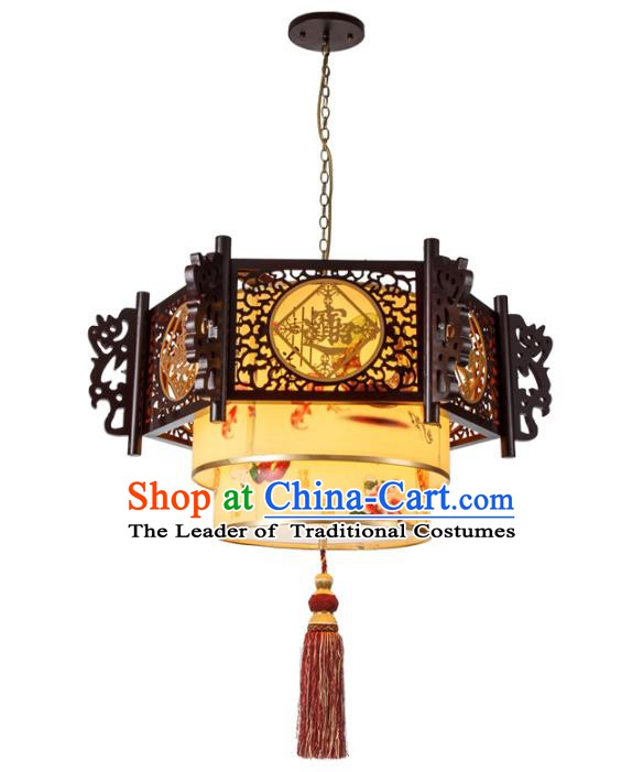 Chinese Handmade Wood Carving Lantern Traditional Palace Ceiling Lamp Ancient Hanging Lanterns
