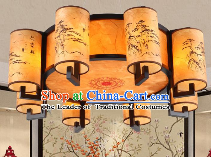 Chinese Handmade Printing Pineburst Lantern Traditional Palace Eight-Lights Ceiling Lamp Ancient Hanging Lanterns