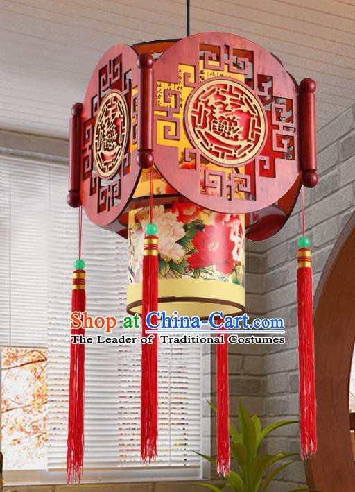 Chinese Handmade Lantern Traditional Palace Wood Ceiling Lamp Ancient Hanging Lanterns
