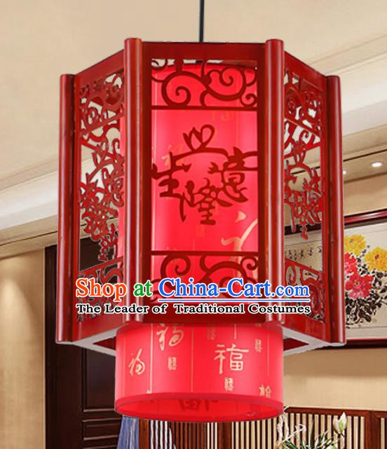 Chinese Handmade Red Lantern Traditional Palace Ceiling Lamp Ancient Hanging Lanterns