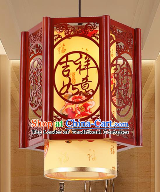 Chinese Handmade Yellow Lantern Traditional Palace Ceiling Lamp Ancient Hanging Lanterns