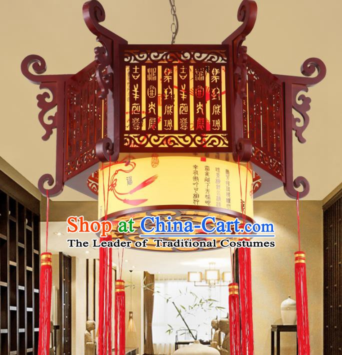 China Ancient Handmade Wood Carving Lantern Traditional Ceiling Lamp Palace Lanterns
