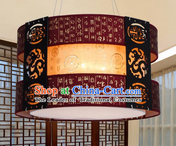 China Ancient Handmade Wood Carving Purple Lantern Traditional Ceiling Lamp Palace Lanterns