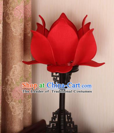 Asian China Handmade Desk Lanterns Traditional Ancient Red Lotus Palace Lantern