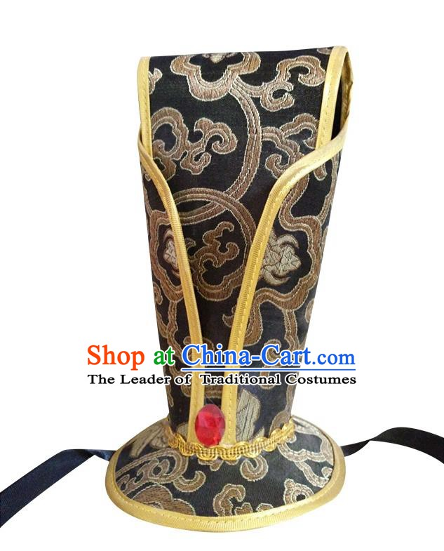 China Ancient Han Dynasty Emperor Hair Accessories Hanfu Black Hairdo Crown for Men