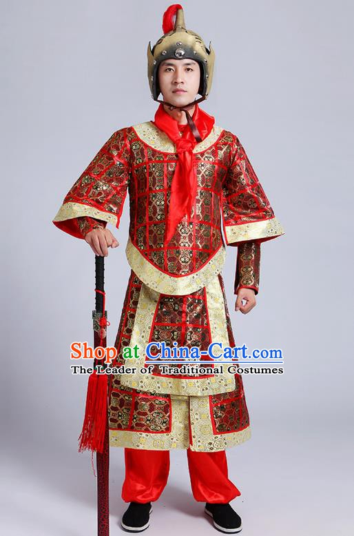 China Ancient Han Dynasty Soldier Costume Theatre Performances General Clothing for Men