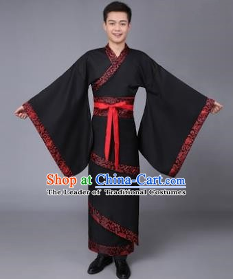China Ancient Han Dynasty Scholar Costume Black Curving-front Robe for Men
