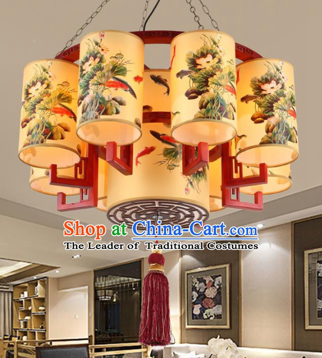 Chinese Handmade Wood Printing Lotus Lantern Traditional Palace Ceiling Lamp Ancient Hanging Lanterns