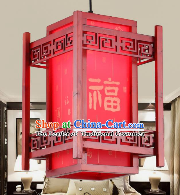 Chinese Handmade Wood Hanging Lantern Traditional Palace Red Ceiling Lamp Ancient Lanterns