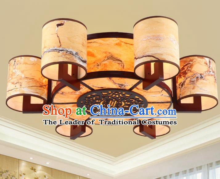 Chinese Handmade Wood Lantern Traditional Palace Six-Lights Ceiling Lamp Ancient Lanterns
