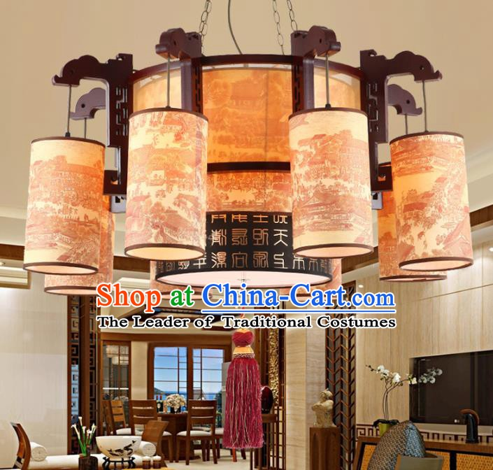 Chinese Handmade Wood Lantern Traditional Palace Eight-Lights Hanging Ceiling Lamp Ancient Lanterns